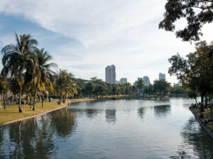 Park in Bangkok mit Skyline