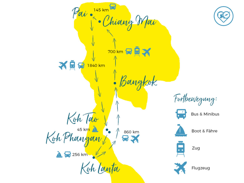 Thailand Backpacking Route: Individuelle Reiseroute für 3